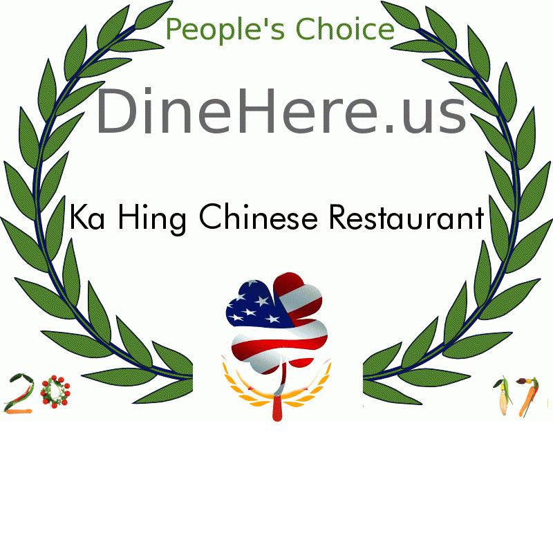 Ka Hing Chinese Restaurant DineHere.us 2017 Award Winner